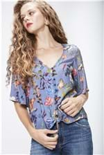 Camisa Cropped Floral Feminina