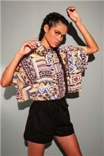 Camisa Cropped Light Patchwork-P/M