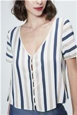 Camisa Cropped Listrada Feminina