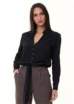 Camisa Curta com Detalhes em Botões e Amarração Frontal