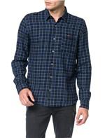Camisa de Lã Xadrez Calvin Klein Jeans Marinho - M