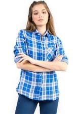 Camisa de Tecido Xadrez Azul Royal Azul Royal/PP