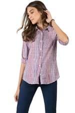 Camisa de Tecido Xadrez / Branco / Vermelho Branco / Vermelho/PP