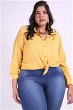 Camisa Detalhe Martingale Plus Size Amarelo G