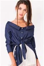 Camisa Feminina Jeans Ombro a Ombro CA0223 - Kam Bess