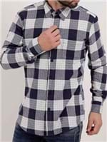 Camisa Flanela Manga Longa Masculina Azul Marinho/branco