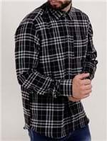 Camisa Flanela Xadrez Manga Longa Masculina Preto