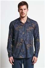 Camisa Folhas Camuflado Azul G