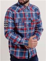 Camisa Forrada Manga Longa Masculina Gangster Azul/vermelho