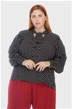 Camisa Gola Laço Poá Plus Size Preto-46