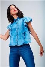 Camisa Jeans Babados Feminina