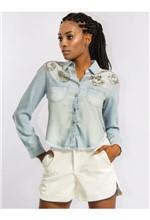 Camisa Jeans com Bordado - M