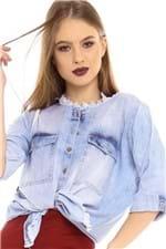 Camisa Jeans com Detalhe Destroyed CA0235 - Kam Bess