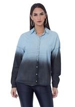 Camisa Jeans com Mangas Longas e Lavagem
