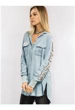 Camisa Jeans com Patch Nas Mangas e Bordado - M