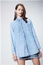 Camisa Jeans com Pérolas Recollect - Tam: P / Cor: BLUE