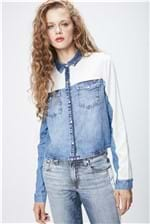 Camisa Jeans com Recortes Feminina