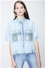 Camisa Jeans Cropped Bordado Recollect - Tam: UC/ Cor: Blue
