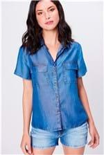 Camisa Jeans de Manga Curta Feminina
