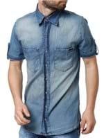 Camisa Jeans Manga Curta Masculina Zune Azul