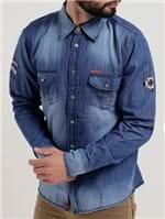 Camisa Jeans Manga Longa Masculina Gangster Azul