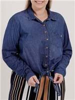 Camisa Jeans Manga Longa Plus Size Feminina Azul