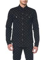 Camisa Jeans Manga Longa - Preto - PP