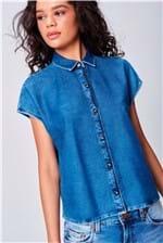 Camisa Jeans Sem Mangas Feminina
