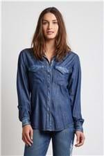 Camisa Jeans Slim Fit Dark Blue Denin Medio - 36