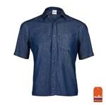 Camisa Jeans Unissex Azul Manga Curta Tamanho 1