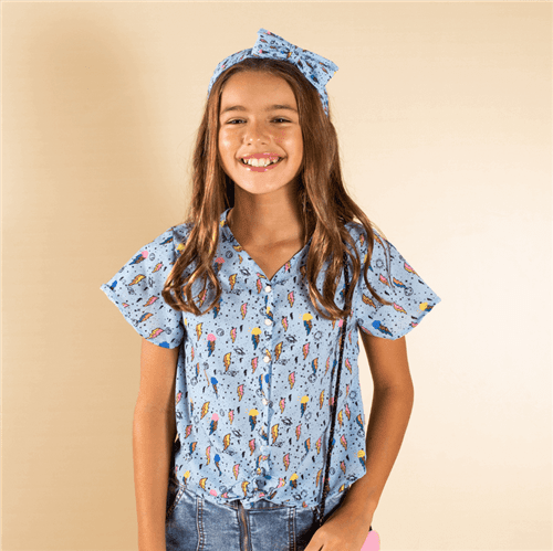 Camisa Light Boom Azul/14 e 16