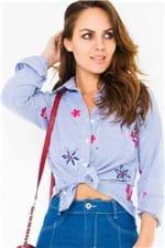 Camisa Listrada com Bordados CA0210 - Kam Bess