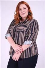 Camisa Listrada Plus Size Kaki M