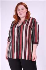 Camisa Listrada Viscose Plus Size Preto P