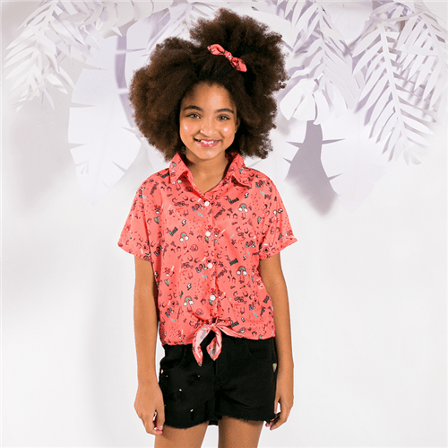 Camisa M/c High Five Rosa Chiclete/14 e 16
