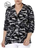 Camisa Manga 3/4 Camuflada Plus Size Feminina Autentique Cinza