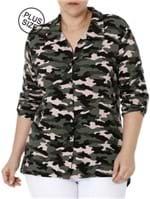 Camisa Manga 3/4 Camuflada Plus Size Feminina Autentique Verde