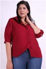 Camisa Manga 3/4 Xadrez Maquinetado Plus Size Vinho P