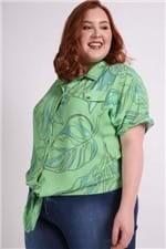 Camisa Manga Curta Amarração Plus Size Verde P