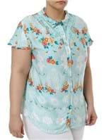 Camisa Manga Curta Plus Size Feminina Verde