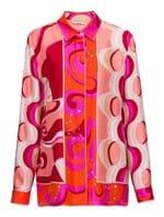 Camisa Manga Longa de Seda Estampada Rosa Tamanho 38