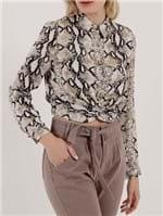 Camisa Manga Longa Feminina Preto/bege
