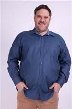 Camisa Manga Longa Tricoline em Fio Tinto Plus Size Azul Marinho 6