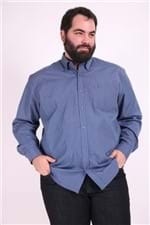 Camisa Manga Longa Xadrez Fio Tinto Plus Size Azul Marinho 8