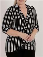Camisa Manga ¾ Plus Size Feminina Autentique Preto