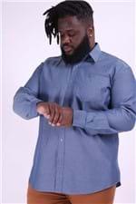 Camisa Maquinetada Plus Size Azul Marinho 8