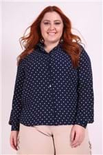 Camisa Poá Plus Size Azul Marinho 46
