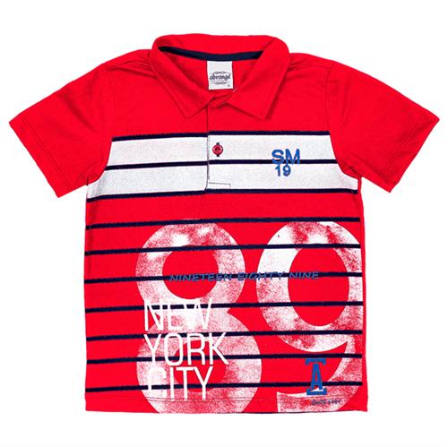 Camisa Polo Infantil Abrange Listras Vermelho 04