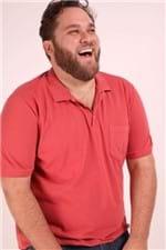 Camisa Polo Lisa com Bolso Plus Size Laranja P