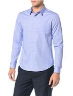 Camisa Slim Calvin Klein Geneva Bolso Príncipe Galles Azul Carbono - 4